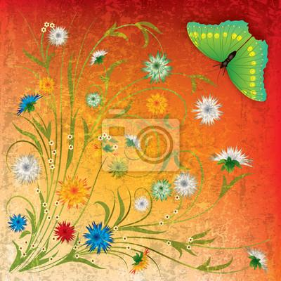 abstrakte Grunge-Hintergrund withbutterfly und Blumen