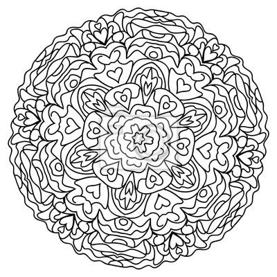 Abstrakte mandala kreisförmigen monochromen muster fototapete ...