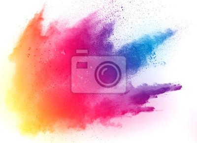 Fototapete abstrakte mehrfarbige Pulver splatted auf weißem Hintergrund, Freeze Bewegung der Farbe Pulver explodiert