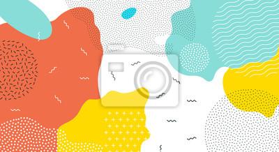 Fototapete Abstrakte Pop-Art-Farbfarbe spritzt Musterhintergrund.  Vektorüberlagerung geometrisches Design des trendigen Memphis 80er-90er-Stils