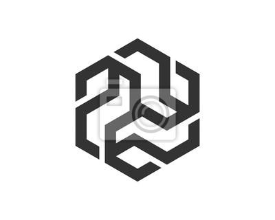 Abstrakte sechseck-logo-vorlage fototapete • fototapeten Multimedia ...