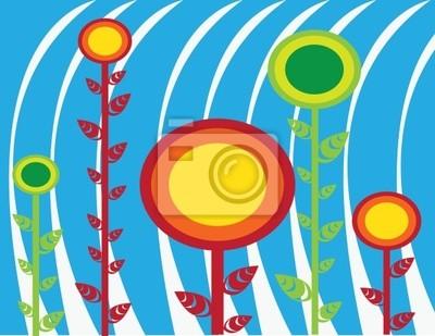 abstrakte Sonnenblume sommer Vektor-Illustration grün rot