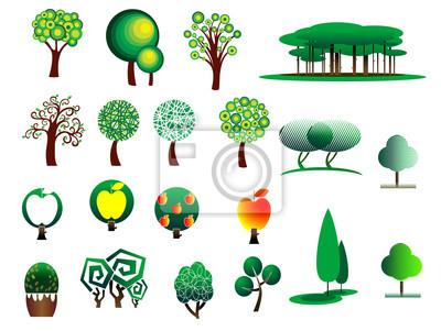 Abstrakte stilisiert Baumsymbole