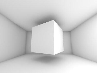 Fototapete Abstrakte weiße Zimmer innere, fliegende Würfel