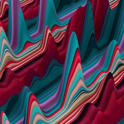 Fototapete abstrakten bunten Wellenlinien, 3D-Hintergrund