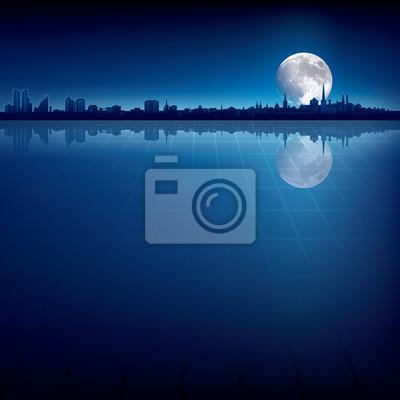 abstrakten Hintergrund mit Silhouette der Stadt und der Mond