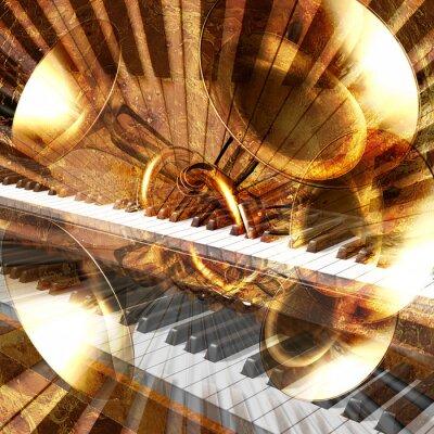 abstrakten musikalischen Hintergrund Gitarre Trompete und Klavier