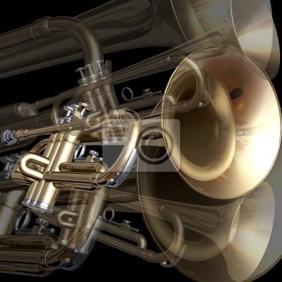 abstrakten musikalischen Hintergrund Trompete auf einem schwarzen