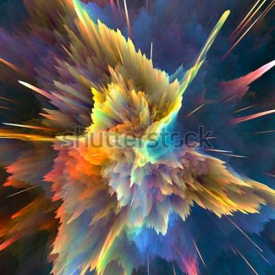 Fototapete Abstrakter bunter Explosionshintergrund. Nahaufnahme, Mietenillustration für Ihre Broschüre, Flieger, Fahnendesigne und andere Projekte. Explosion Lichtwirkung. 3d render illustration.
