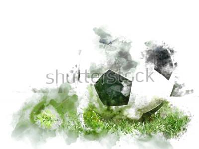 Fototapete Abstrakter bunter Fußball auf grünem Gras auf Aquarellillustrations-Malhintergrund.