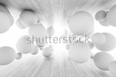 Fototapete Abstrakter geometrischer Hintergrund mit Bällen im Tunnel von Brettern. 3D Abbildung.
