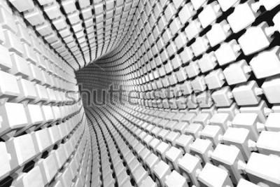Fototapete Abstrakter geometrischer Hintergrund mit einem Tunnel, der zur Perspektive geht. 3d rendern