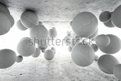 Fototapete Abstrakter geometrischer Hintergrund von konkreten Bällen. 3D Abbildung.