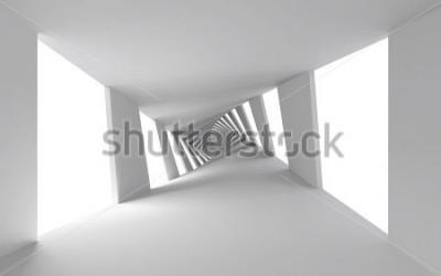 Fototapete Abstrakter Hintergrund 3d mit weißem verdrehtem gewundenem Flur