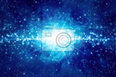 Abstrakter Hintergrund mit hellem blauem Stern, Lichtern und Scheinen