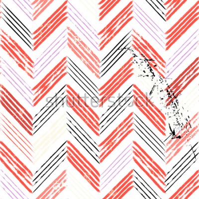 Fototapete abstrakter Hintergrund, mit Strichen und Spritzern, nahtloses Zick-Zack-Muster