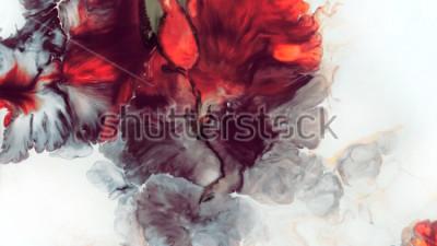 Fototapete Abstrakter roter Hintergrund. Makrozellen. Rote Blume. Acrylfarben Marmor Textur Zeitgenössische Kunst.
