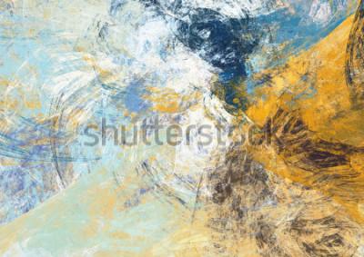 Fototapete Abstrakter schöner blauer und gelber weicher Farbhintergrund. Dynamische Malerei Textur. Modernes futuristisches Muster. Fractalgrafik für kreatives Grafikdesign