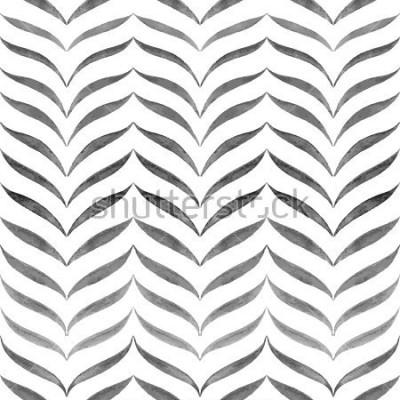 Fototapete Abstrakter schwarzer weißer Hintergrund. Gezeichnetes Muster des Vektors nahtlose Hand.