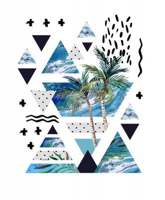 Fototapete Abstrakter Sommer geometrischer Plakatentwurf.