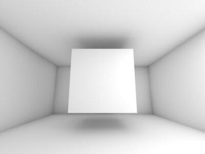 Fototapete Abstrakter weißer Innenraum mit fliegenden Würfel