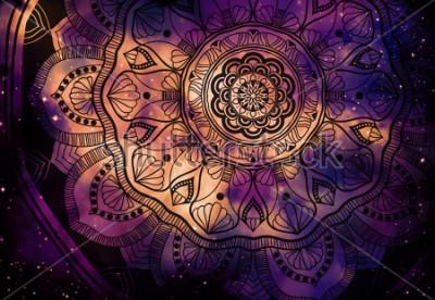 Fototapete Abstraktes altes geometrisches mit Sternfeld und bunter Galaxiehintergrund, digitale Malerei des Aquarells und Mandalagrafikdesign