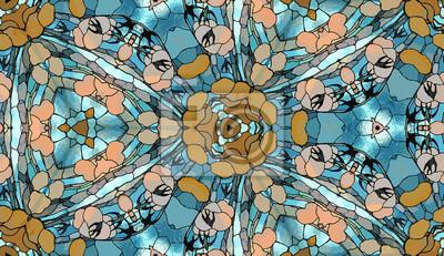 Fototapete: Abstraktes art-deco tapete. fantasy mosaik puzzle glasmalerei.
