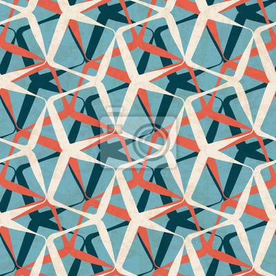 Fototapete Abstraktes Geometrisches Nahtloses Muster In Den Modernen Farben  Der Mitte Des Jahrhunderts, Vektorillustration Mit
