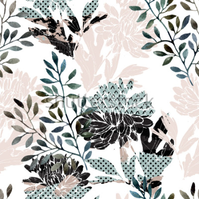 Fototapete Abstraktes nahtloses mit Blumenmuster. Aquarellblumen, Blätter gefüllt mit minimalen Gekritzelbeschaffenheiten. Natürlicher Hintergrund. Handgemalte Herbstillustration für Gewebe, Gewebe, Design einwi