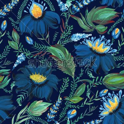 Fototapete Abstraktes nahtloses mit Blumenmuster in der ukrainischen Volksmalereiart Petrykivka. Übergeben Sie gezogene Fantasieblumen, Blätter, Niederlassungen auf einem dunklen Indigoblauhintergrund Batik, Sei