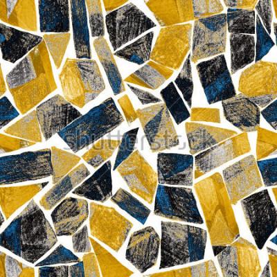Fototapete Abstraktes nahtloses Muster des Aquarells. Grafik im geometrischen modernen Stil. Zeitgenössisch. Glasfenster.