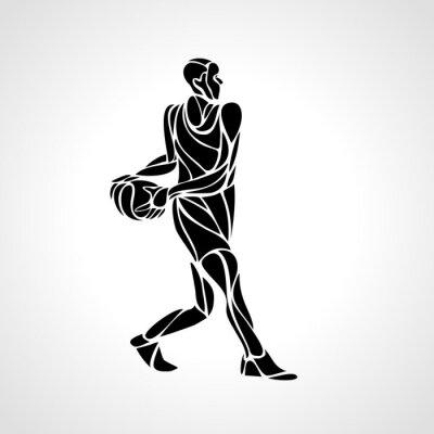 Abstraktes Schattenbild des Basketball-Spielers