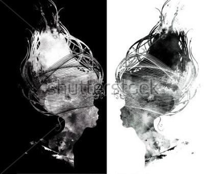 Fototapete abstraktes surreales Porträt des schönen Mädchens - Profilschattenbild, langes Haar, Verzierungen. Digital und Aquarell.
