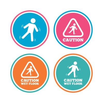 Achtung nasse boden icons. menschlichen fallenden dreieck symbol ...