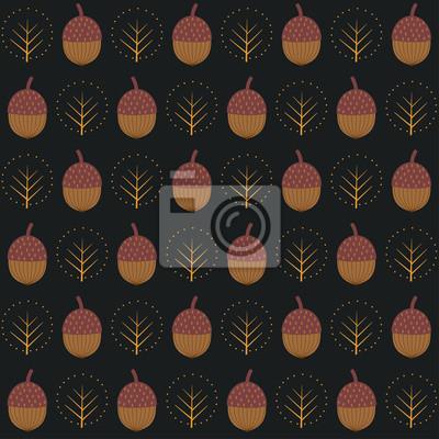 Fototapete Acorns nahtlose Muster mit dekorativen Bäumen auf schwarzem Hintergrund. Herbst Natur Hintergrund. Design für Textilien, Tapeten, Stoffe.