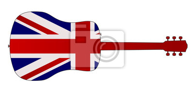 Acoustic Guitar Silhouette With British National Flag