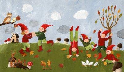 Fototapete Acryl Illustration der niedlichen Kinder - Zwerge tanzen in der fa