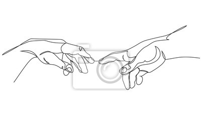 Fototapete Adam and God hands one line drawing on white isolated background