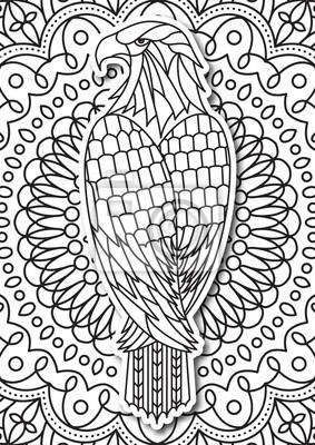 Adler Ausmalbilder Für Erwachsene Im Ethnischen Stil Vector