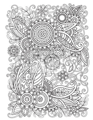 Fototapete Adult coloring page with oriental floral pattern. Black and white doodle flowers. Bouquet line art vector illustration isolated on white background. Mehndi vector design