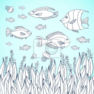 Adult Malbuch Seite Kids Ausmalbilder Mit Aquariumfischen Kinder