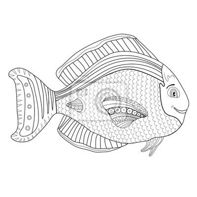 Adult Malbuch Seite Kinder Malvorlage Mit Fisch Charakter Kids