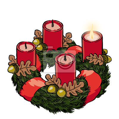 adventskranz mit schleife und eicheln 1 advent fototapete fototapeten eichenblatt ferienzeit. Black Bedroom Furniture Sets. Home Design Ideas