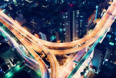 Fototapete Aerial-Ansicht Autobahnkreuz in der Nacht in Tokio, Japan