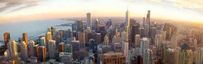 Fototapete Aerial Chicago Panorama bei Sonnenuntergang, IL, USA