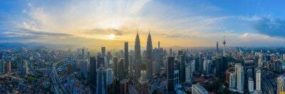 Fototapete Aerial Panoramic View Of Sunrise At Kuala Lumpur City Skyline