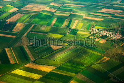 Fototapete aerial photo from a plane, top view, field roads and city