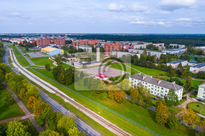 Fototapete Aerial view of the city at autumn season. Small town. Eastern Europe.