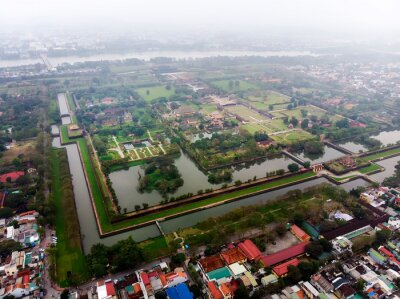 Fototapete Aerial view of the Hue Citadel in Vietnam. Imperial Palace moat,Emperor palace complex, Hue Province, Vietnam