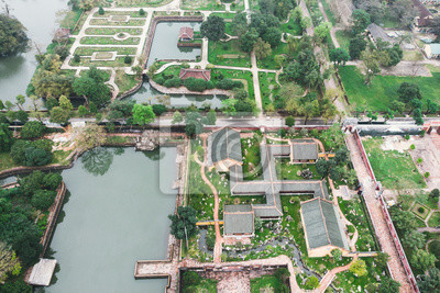 Fototapete Aerial view of Vietnam ancient Tu Duc royal tomb and Gardens Of Tu Duc Emperor near Hue, Vietnam. A Unesco World Heritage Site